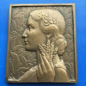 MORLON médaille plaque 65,5 X 56,5 mm 140 gr boite d'origine 1953 UNC bronze