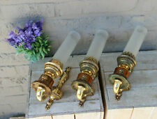 Set 3 French brass metal glass lion heads Wall lights sconces