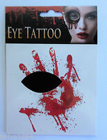 HALLOWEEN FACE EYE TEMPORARY TATTOO BLOODY HANDPRINT HORROR COSTUME ACCESSORY