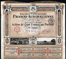 1922 Frankreich/Australien: Societe Forestiere Franco-Australienne