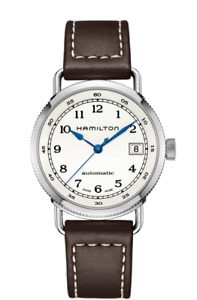 New Hamilton Khaki Navy Pioneer Silver Dial Leather band Men's Watch H78215553