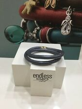 """NWT  Endless Metallic Grey Double Wrap Leather Charm Gold Bracelet 7.5"""" NEW"""