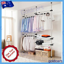 Three Poles Three Bars Two Baskets Coat Hanger Tools Free Garment Rack DIY Cloth
