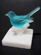 Vintage Westmoreland Blue Satin Glass Bird on Milk Glass Branch Figurine VHTF