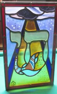 "RAPHAEL ABECASSIS ""CHABAD"" STAINED GLASS WINDOW SIGNED AND NUMBERED BEAUTIFUL"