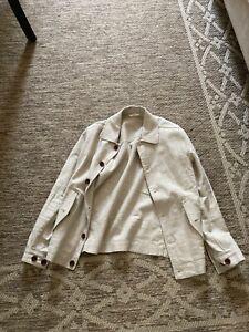 Gant beige linen cotton blend summer unlined shirt jacket extra small