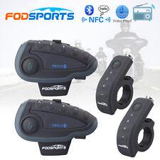 2pcs V8 1200M Bluetooth BT Motorcycle Helmet Intercom Interphone Headset NFC FM