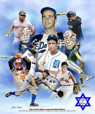 TOP JEWISH BASEBALL PLAYERS OF ALL-TIME POSTER Print KOUFAX, Greenberg, Youk, ++