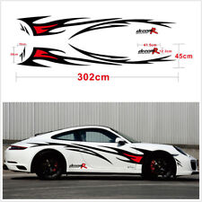 2Pcs Car Body Side Black+Red Flame Graphics Design Decor Vinyl Decals Stickers