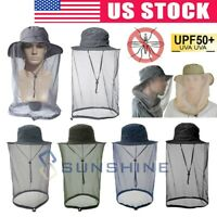 Mosquito Head Net Hat with Hidden Mesh Protection Bugs Bees for Hiking Fishing