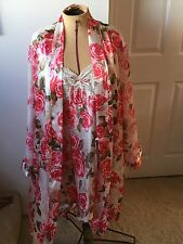Morgan Taylor PINK ROSES POLYESTER ROBE & CHEMISE GOWN SIZE M/L