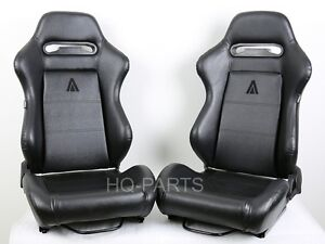 2 X TANAKA BLACK PVC LEATHER RACING SEATS RECLINABLE + SLIDERS FITS FOR TOYOTA A