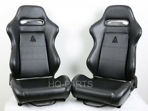 2 TANAKA BLACK PVC LEATHER RACING SEATS RECLINABLE + SLIDERS FIT FOR HONDA *