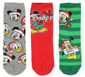 Disney Mickey Mouse And Friends Kids Christmas 3 Pair Crew Socks Gift Set (6/8)