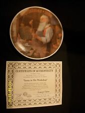 Bradford Exchange Plate Norman Rockwell Santa In His Workshop ~ 1984 Cp25