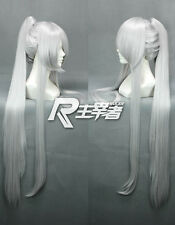 Brave 10 Date Masamune 90cm Long Silver White Straight Ponytail Cosplay Wig +CAP