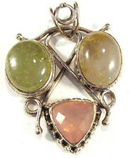 sterling silver pendant with phrenite & rose quartz, 2 in with bail, 23.25 grams