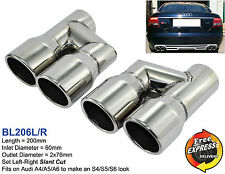 "Exhaust tips 3"" quad tailpipe trims 76mm for Audi A4 A5 A6 A7 A8 S4 S5 S6 S7 S8"