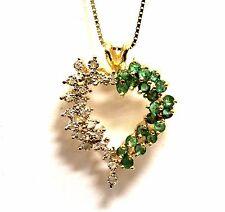 "14k yellow gold .10ct SI3 H diamond emerald heart pendant box necklace 5.5g 18"""
