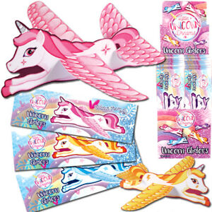 UNICORN FLYING GLIDER PLANES GIRLS TOY PRIZES FAVORS BIRTHDAY PARTY BAG FILLERS