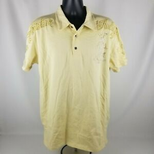 Christian Audigier Spell Out Beige Yellow Polo Style Shirt Grenade Size XL