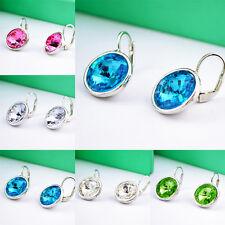 1 Pair Fashion Women Elegant Round Crystal Rhinestone Ear Stud Earrings Jewelry