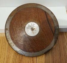 "Vintage Track Field Wood Brass Discus 3.5 lbs Sports Throw 8.5"" Diameter 3.16k"
