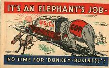 Vintage (1932) Political Pro-Republican Great Depression Hoover Cartoon Postcard