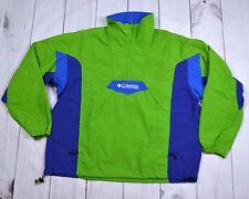 Mens VTG Columbia Sports Pullover Jacket Windbreaker Green Blue 1/3 Zip Sz Large