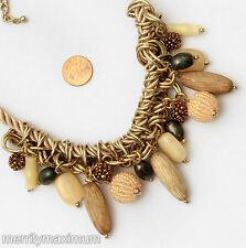 Chico's Signed Necklace Long Gold Tone Chain Neutral & Ivory Color Beads