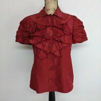 OSCAR DE LA RENTA Blouse Size 10 Silk Made in Italy Ruffle Short Sleeve Burgundy