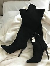 forever 21 over the knee faux suede black stilleto boots 7
