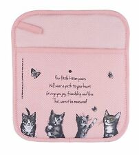 """Cat Cotton Pot Holder or Pot Mitt with Poem """"It's All about Meow"""" - Ashdene"""