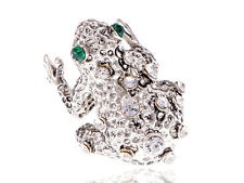 Spotted Frog Fashion Eyed Silver Tone Hugging Toad Rhinestone Lovely Sized Ring