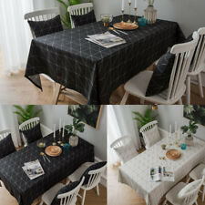 Black White Rectangle Tablecloth Cushions Dining Kitchen Home Hotel Table Decor