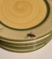 ZELLER KERAMIK POTTERY GERMANY LOT 8 BREAKFAST PLATES YELLOW BEES HANDPAINTED