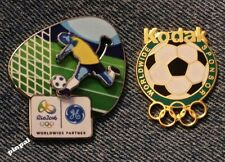 Soccer Olympic Pin Set~1996 Atlanta Bridge to 2016 RIO~Sponsor~Kodak~GE~Lot of 2