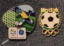 Soccer Olympic Pin Set~1996 Atlanta Bridge to 2016 RIO~Sponsor~Kodak~GE~Lot of 2
