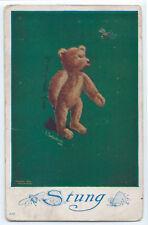 "1911 Charles Twelvetrees ""Stung"" Teddy Bear postcard, Washburn, Wisconsin"