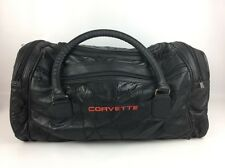 CORVETTE VIntage Black LEATHER Quilted Duffle Travel Bag Luggage Large Chevrolet