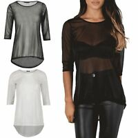 Womens Ladies Full Mesh See Through 3/4 Sleeve Round Neck High Lo Dipped Hem Top