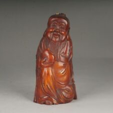 Chinese Ox Horn Carved OLD MAN/La Longue Vie Homme Figure Statue