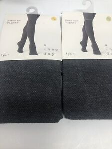 Womens A New Day Ribbed Sweater Tights Charcoal Heather Textured