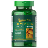Pumpkin Seed Oil 1000mg 100 Softgels Prostate Health Cold Pressed