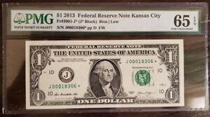2013 KANSAS CITY $1 STAR NOTE J00018306* PMG 65 EPQ LOW 25OK RUN