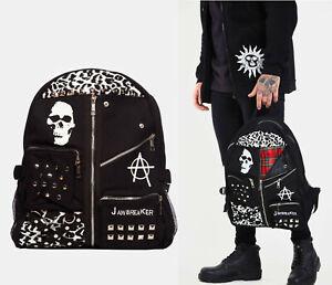 Anarchy Skull Studded Leopard Tartan Punk Backpack Bag Goth Emo