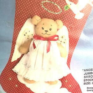 Bucilla Christmas Angel Bear Jumbo Quilted Stitchery Stocking Georgis Bell