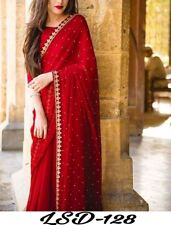 Red Saree Sari Indian Pakistani Bollywood Wedding Women Georgette Party Wear TOP