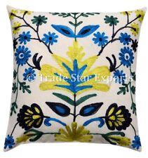 "Uzbek Suzani Cushion Cover Embroidered Cotton 16"" Decorative Throw Pillow Case"