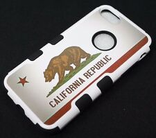 For iPhone 7 California Republic Flag Bear Hard Soft Hybrid Protector Case Cover